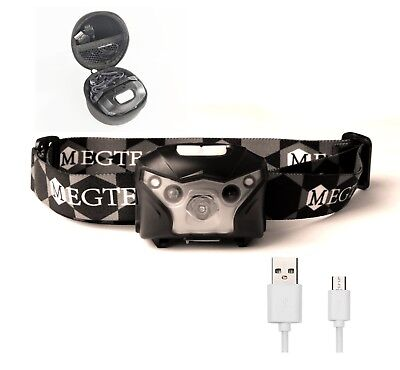 Head Torch, Headlamp [USB RECHARGEABLE LED] Headlight, Long Lasting,Free case
