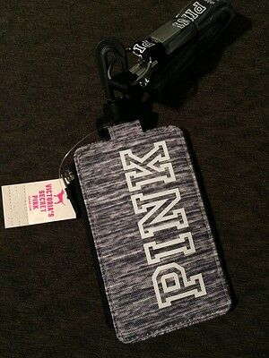 victorias secret pink id holder / badge/ wallet laynard brand new with tags GRAY