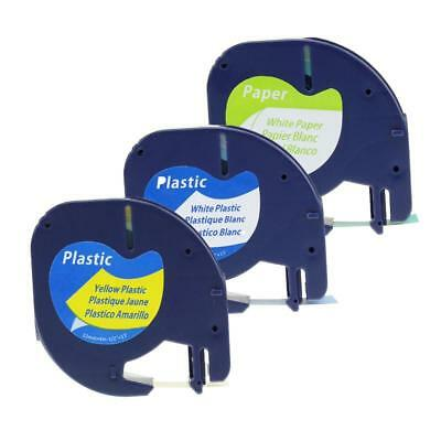 91330  91331 91332 Label Tape Compatible for DYMO LetraTag Tapes 12mm 3pk