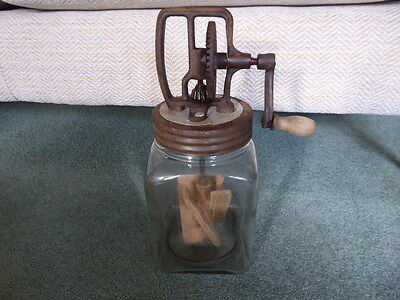 Vintage old Blow Butter Churn 2/20 with wooden paddle working