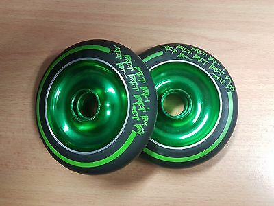 Stunt Scooter Wheels - Pair - Green/ Black - Pimp Your Scooter!