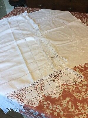 pair of vintage white cotton tablecloth toppers lace and pulled thread work