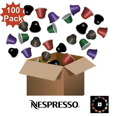 New 100 Pack Nespresso Compatible Coffee Pods - Mixed Pack Of 4 Premium Blends