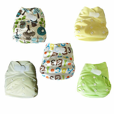 5 All-in-One Cloth Pocket Washable Reusable Nappies with Inserts, Unisex Designs