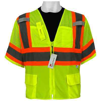 GLO-127-XL, ANSI Class 3 Hi-Viz Surveyors Safety Vest, Global Glove Size:XL