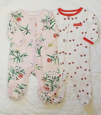 EUC Carter's Baby Girls Cotton 2 PC One Piece Sleepers size 3 months