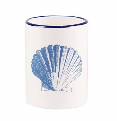Sass & Belle Vintage Style Shell Toothbrush Holder Seaside Nautical Blue White