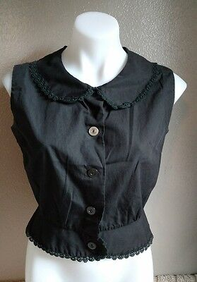 Vtg vintage womans 50s Black Blouse Top w/ lace Rockabilly Sleeveless VLV pinup