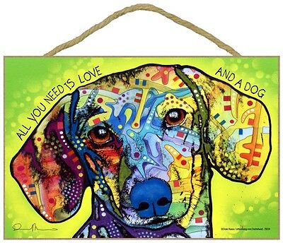 Dachshund Sign – All You Need is Love & a Dog 7 x 10.5