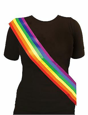Adult Ladies Rainbow Sash Gay Pride Hen Night Stag Party Fancy Dress