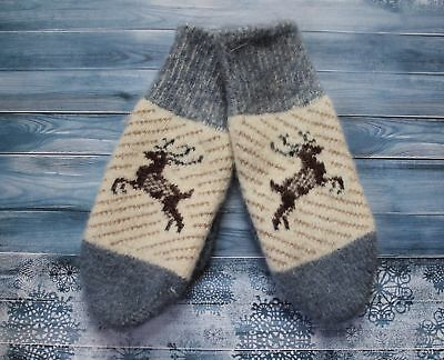 NEW WOMEN'S MITTENS gloves 100% SHEEP WOOL HOME KNITTED from Russia DEER