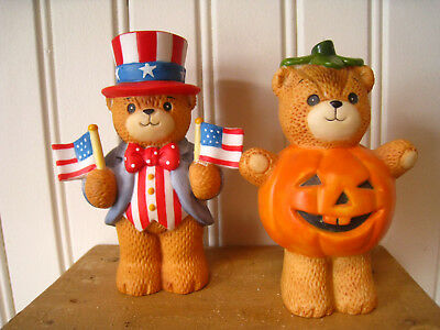 2 Vntg LUCY & ME 1984 Halloween Bear & 1985 Uncle Sam Bear With Flags Lucy Riggs