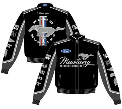 Ford Mustang Collage Mens Black Cotton Twill Jacket by JH Design