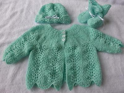 Gorgeous Hand Knitted Baby Jacket, Hat and Booties - Newborn to 3months
