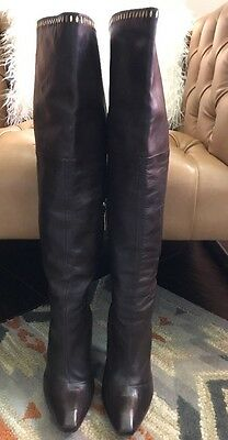 LAMB Size 9 Women's Brown Knee High Boot With Gold Grommets