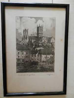 Antique / Vintage Engraving Etching By T. Waghorn Limcoln,from Brayford Pond