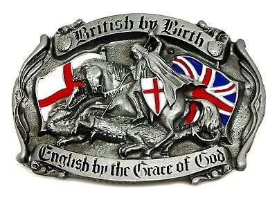 English Patriot Belt Buckle British St George Cross Union Flag England Authentic