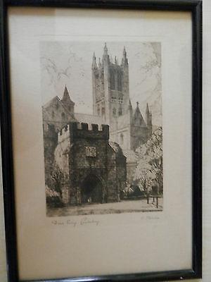 Antique /vintage Engraving Etching Signed O. Fletcher