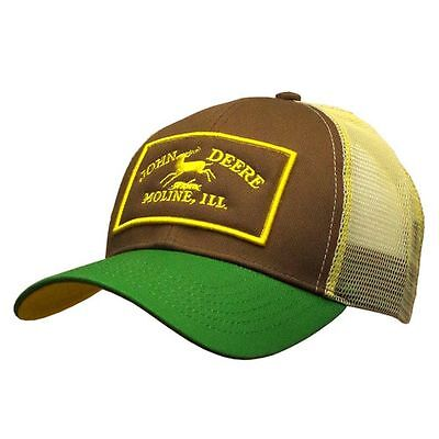 John Deere Mens Twill And Mesh Cap Embroidery Green One Size