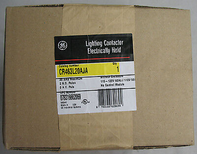 New GE CR463L20AJA Lighting Contactor Electrically Held 2 N.O. Poles 30 Amp