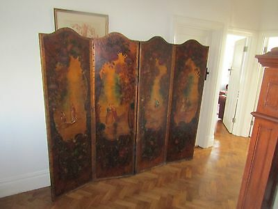 Victorian Screen Hand Painted 4 Fold Dressing Wall Panel 1880 English / French?