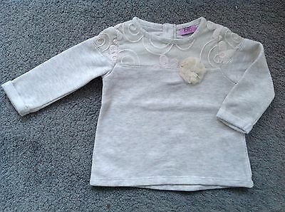 Baby Girls Long Sleeved Cream Floral Top Jumper. 3 6 Months