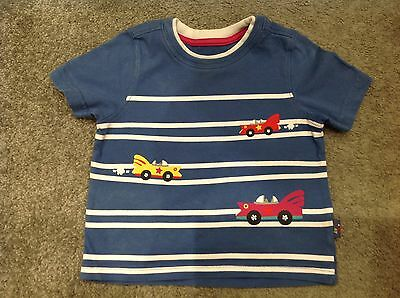 Baby Boys Mothercare Short Sleeved Tshirt Top. Blue White. Cars. 9 12 Months