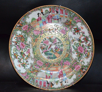 """Antique Chinese Export Rose Medallion Canton Famille Plate 9 1/2 """" No Reserve!"""