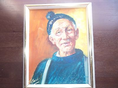 Old Fisherman Portrait w/Beanie Hat Vintage Oil Painting on Canvas 8X10 Signed