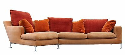 Contemporary Modern B&B Italia 2 pc Curved Sectional Sofa Aluminum Legs Italian