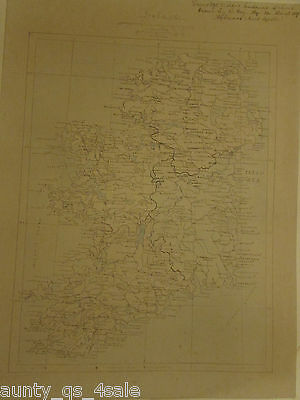 Rare Cartography original antique Irish map, hand drawn pen/ink, Ireland 1898