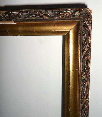 Antique Vtg Ornate Carved Gold Gesso & Wood Painted Rustic Picture Frame 18x15