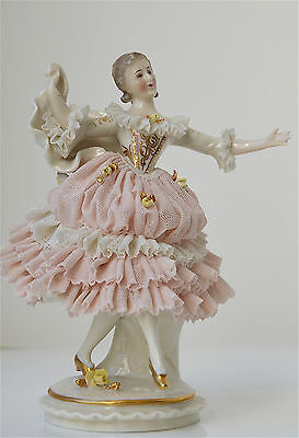 Ackermann & Fritze Dresden Marked Porcelain Dancer in Lace Figurine # 1724 6.5""