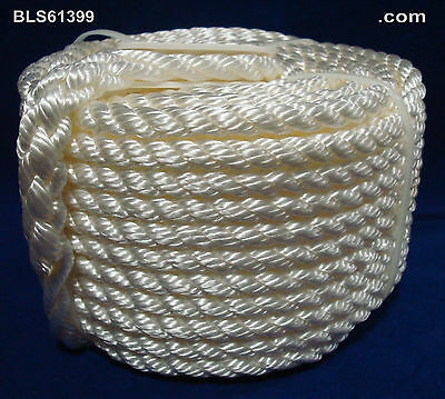 """(1) White Twisted 3/8"""" in x 100' ft Boat Marine ANCHOR LINE Dock Mooring Rope"""