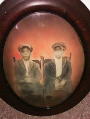 "Antique Bubble Glass Framed African American Children 25"" x 19"""