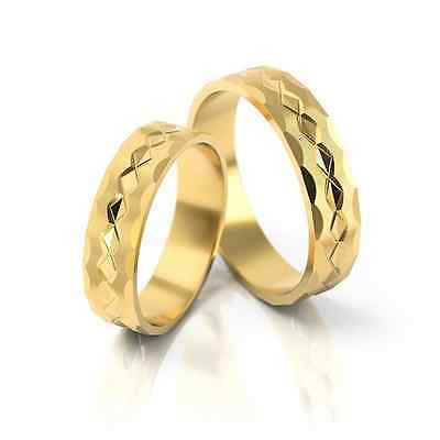 1 Pair Wedding Rings Gold 333 - Matte / Polished - Various Widths 4mm - 10mm