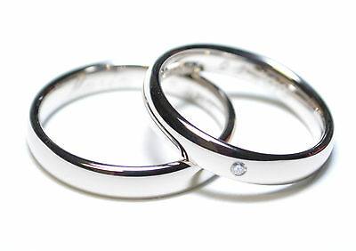 1 Pair Wedding Rings Gold 585 - White - Width: 4mm - With Diamond