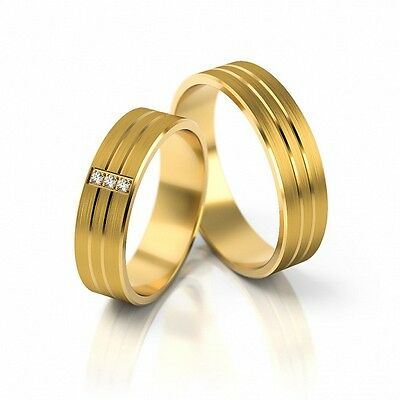 1 Pair Wedding Rings Gold 585 - Yellow - With Zirconia - 5,3mm Wide