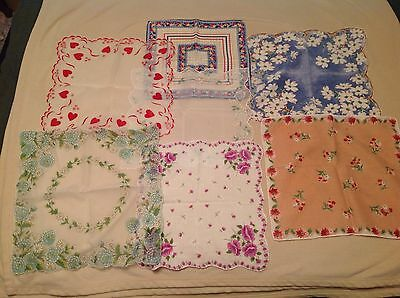 Lot of 7 Vintage Handkerchiefs Midcentury with Hearts Flower Bouquets Floral