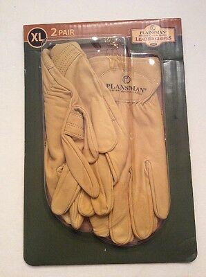 2 Pair Xl Plainsman Leather Gloves Hunting Forming Construction Work