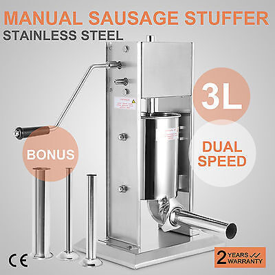 3L Sausage Filler Stuffer 304 Stainless Steel Meat Mince Dual Speed Manual