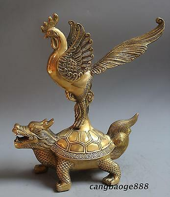 """Chinese Fengshui Brass Champion """"DuZhanAoTou""""Chicken And Dragon Turtle Statue"""