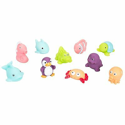 Badabulle Baby Bath Tub Play Water Squirter Toys - Set of 10 Ocean Animals