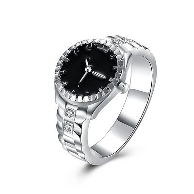 Creative Watch 925 Silver Jewelry Black Sapphire Women Wedding Ring Size 6-10