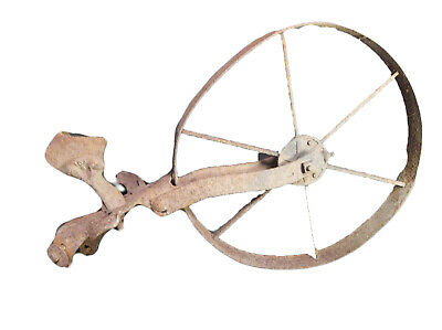 "c88 Antique Rusted Wagon Wheelbarrow Wheel 15"" Diameter 6 Spoke +Extra Parts VTG"