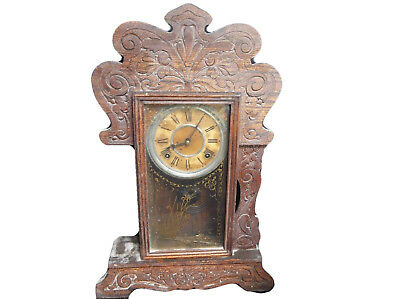I86 Antique 1908 Sessions Wall Clock All Wood Frame Very Old VTG Aged Patina