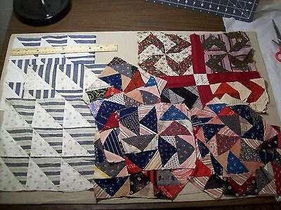 Antique Vintage Quilt Blocks Hand sewn Misc/Craft Cutter 13pcs (2)