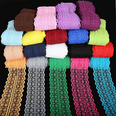 10yds Bilateral Handicrafts Embroidered Net Lace Trim Ribbon Bow Sewing Crafts