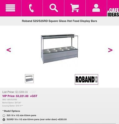 ROBAND 2016 S25 5 Bay BAIN MARIE HOT FOOD WARMER SQUARE GLASS DESIGN FREE TRAYS