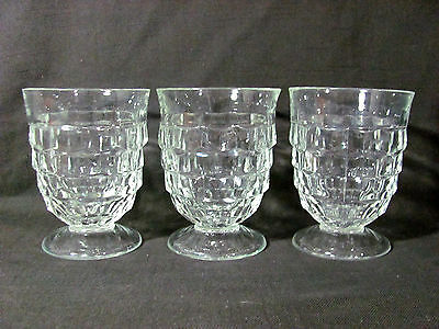 """Indiana Glass Set of 3 Whitehall Clear Cube Glass 4 3/8"""" Footed Tumblers"""